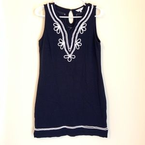 Crown & Ivy Navy Blue Sleeveless Dress White Rope